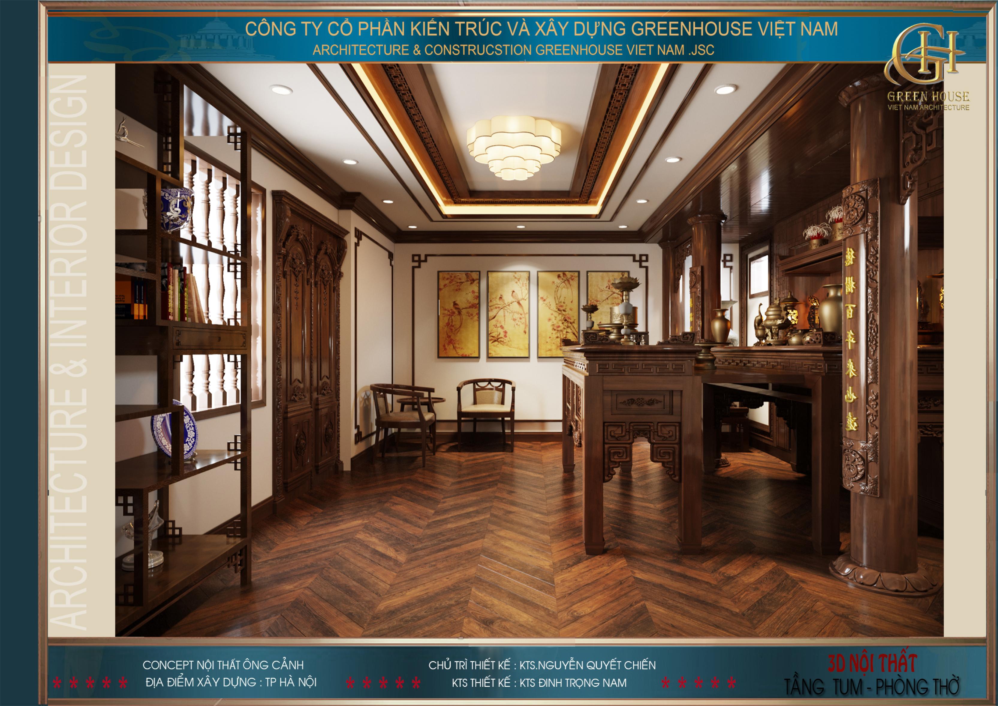 Phòng thờ gia tiên mang đậm vẻ đẹp truyền thống nhưng vẫn thời thượng