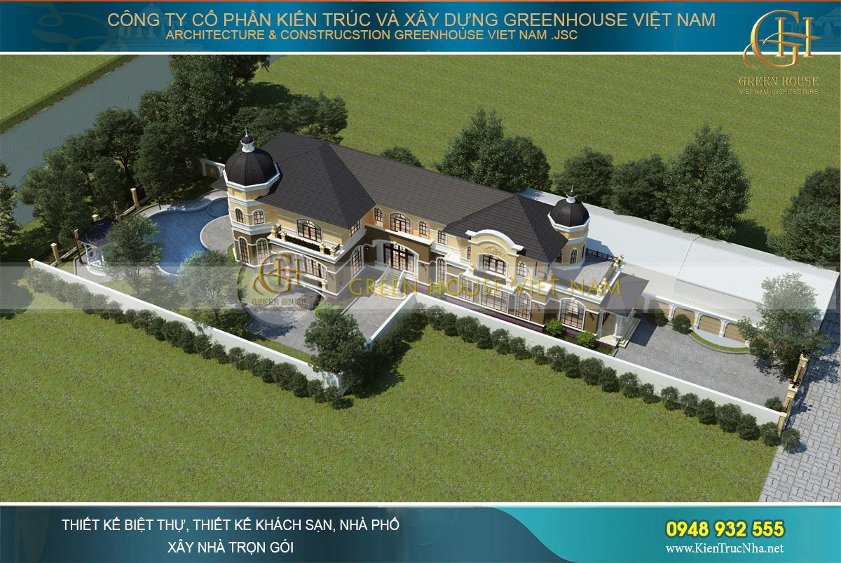 Toàn cảnh thiết kế dinh thự tân cổ điển với khu vực sân vườn rộng lớn, ấn tượng