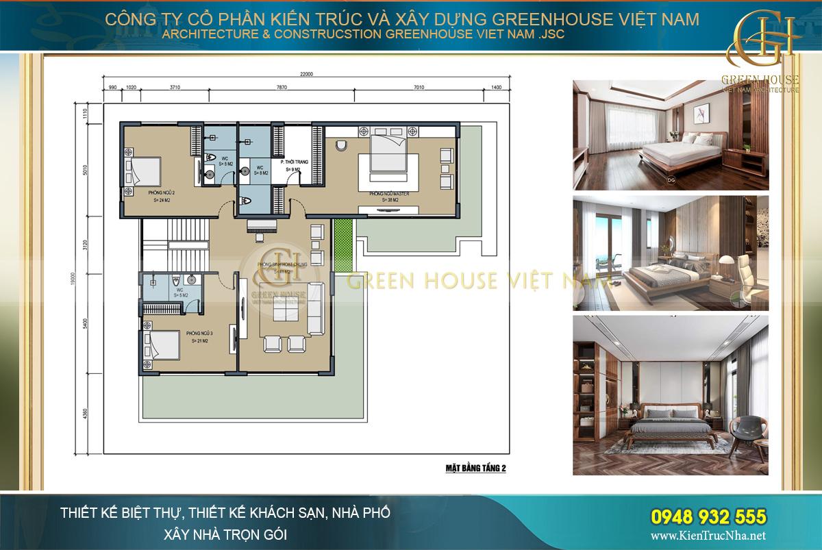 Tầng hai là không gian sinh hoạt chính với 03 phòng ngủ rộng rãi thoáng mát