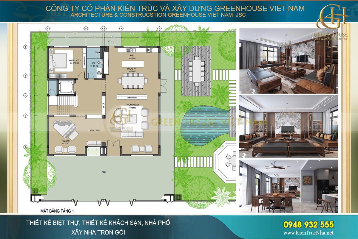 Bố trí công năng sử dụng của tầng 1 biệt thự hiện đại 3 tầng tại Hà Nội