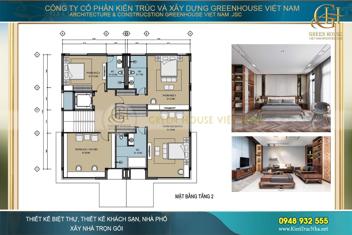 Bố trí công năng sử dụng của tầng 2 biệt thự hiện đại 3 tầng tại Hà Nội