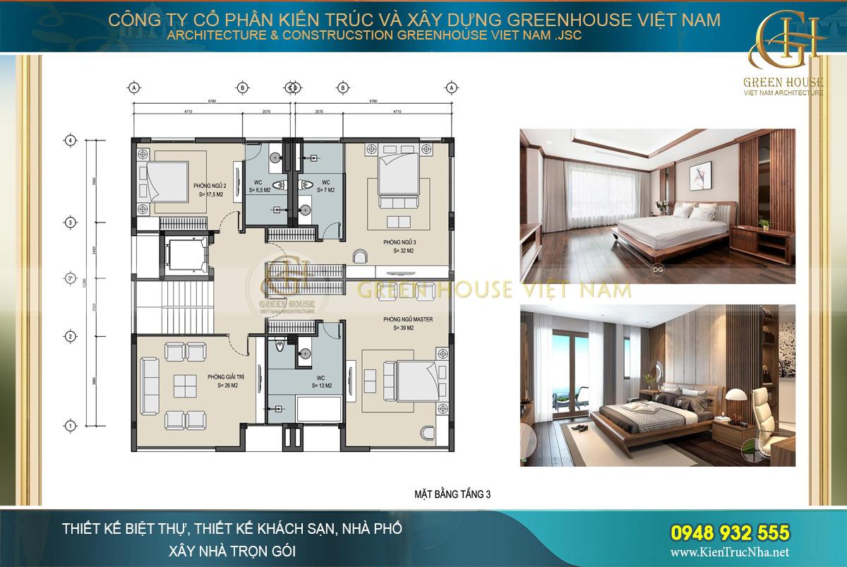 Bố trí công năng sử dụng của tầng 3 biệt thự hiện đại 3 tầng tại Hà Nội