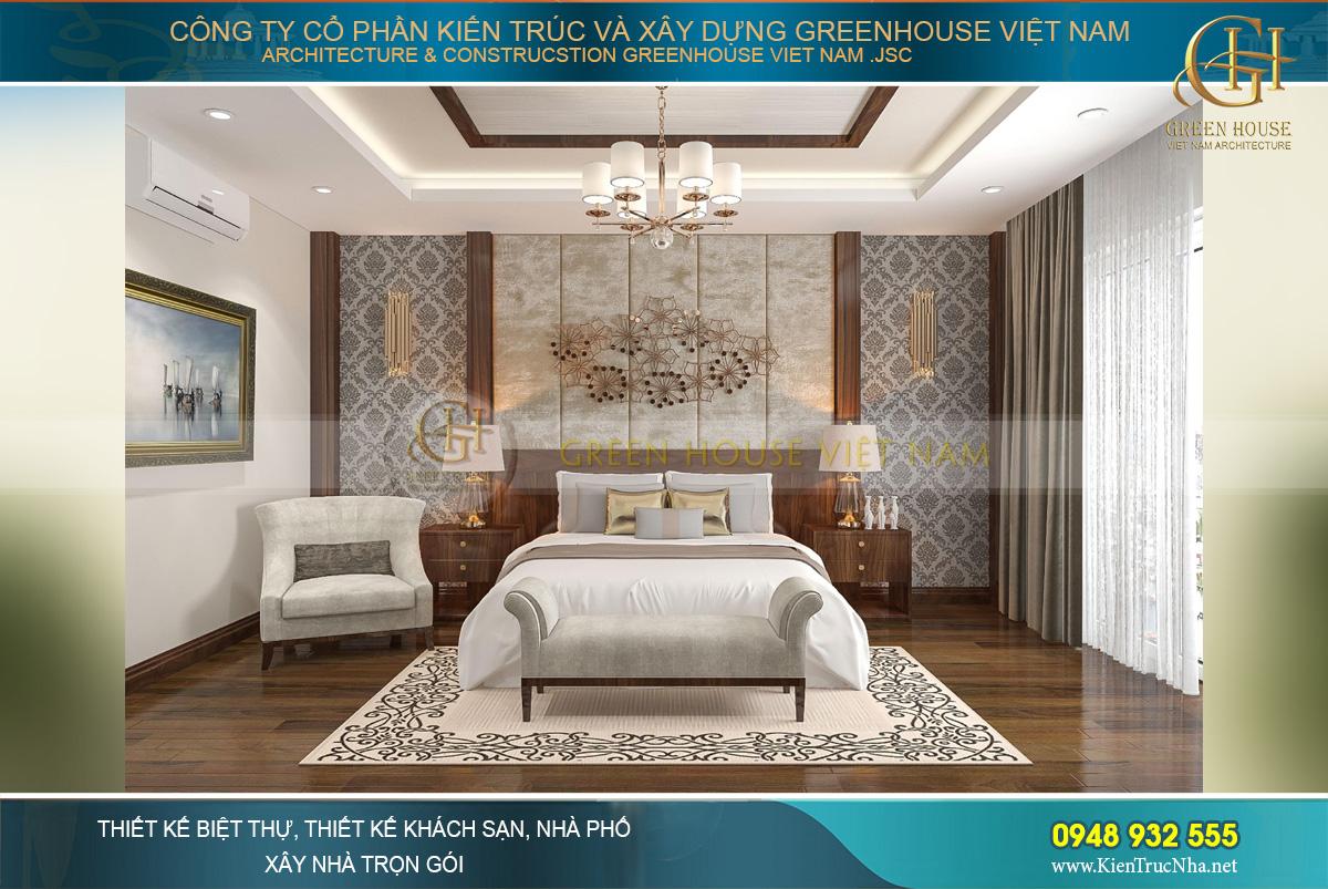 Thiết kế nội thất phòng ngủ master của biệt thự hiện đại 3 tầng