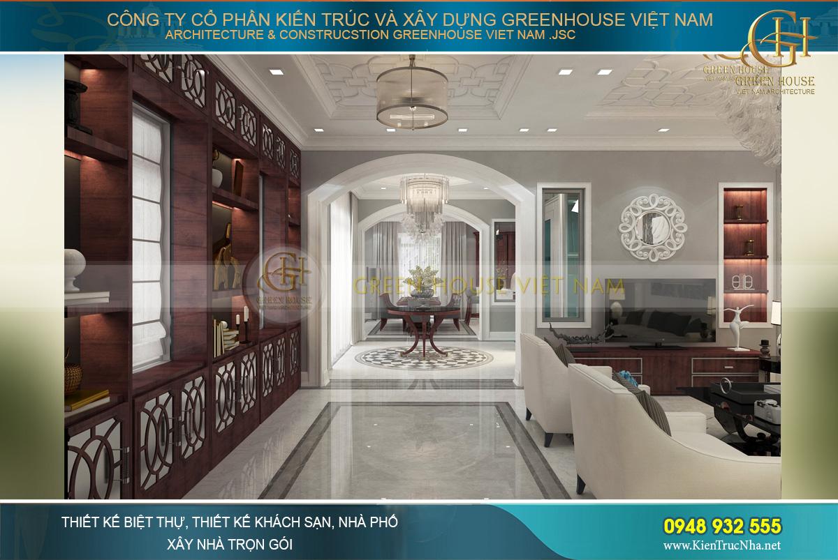 Thiết kế nội thất phòng khách với tone màu gỗ đỏ chủ đạo với sự ấm áp, lịch lãm và đẳng cấp