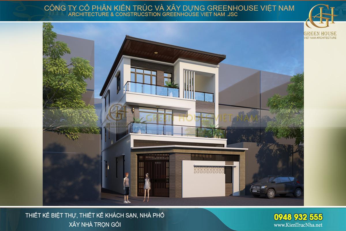 Gạch ốp màu nâu kết hợp với tông màu chủ đạo của ngôi nhà tạo nên ấn tượng