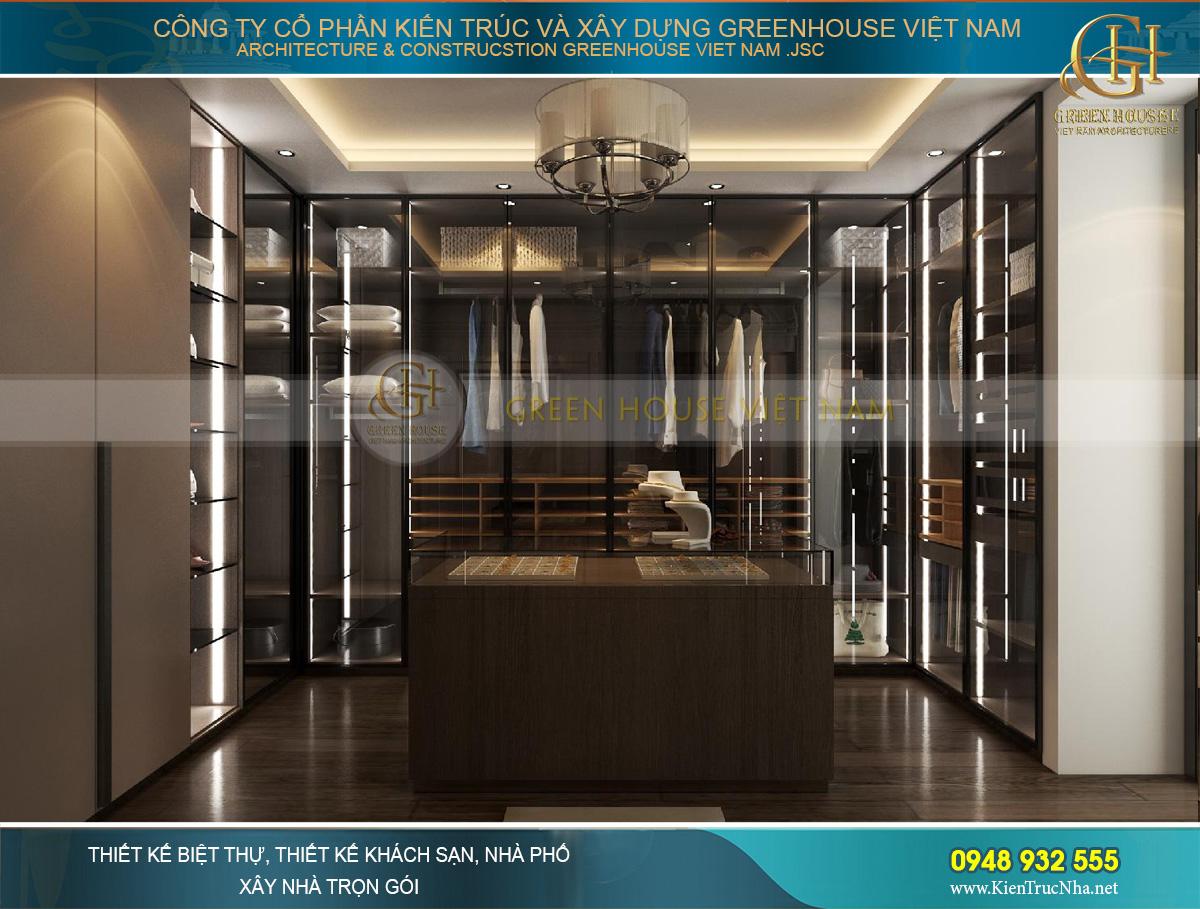 Phòng thời trang với thiết kế pha trộn với phong cách metallic