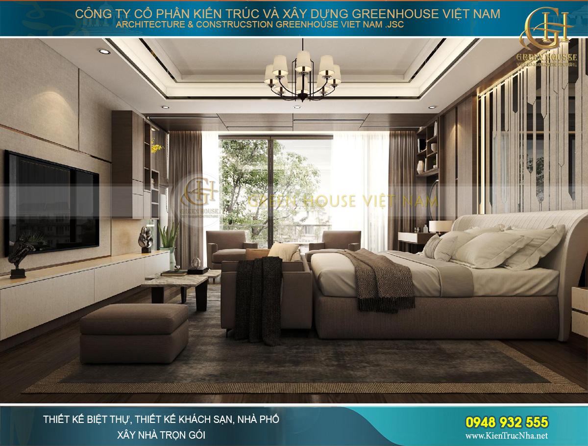 Khung tường kính lớn cho views đẹp và mang sáng cho căn phòng