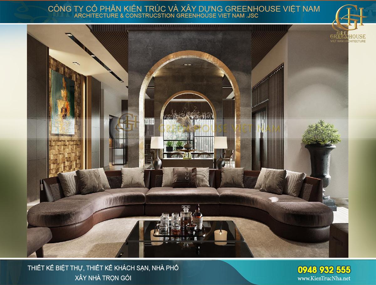 Thiết kế nội thất phòng khách của biệt thự với tone màu chocolate lịch lãm, đẳng cấp