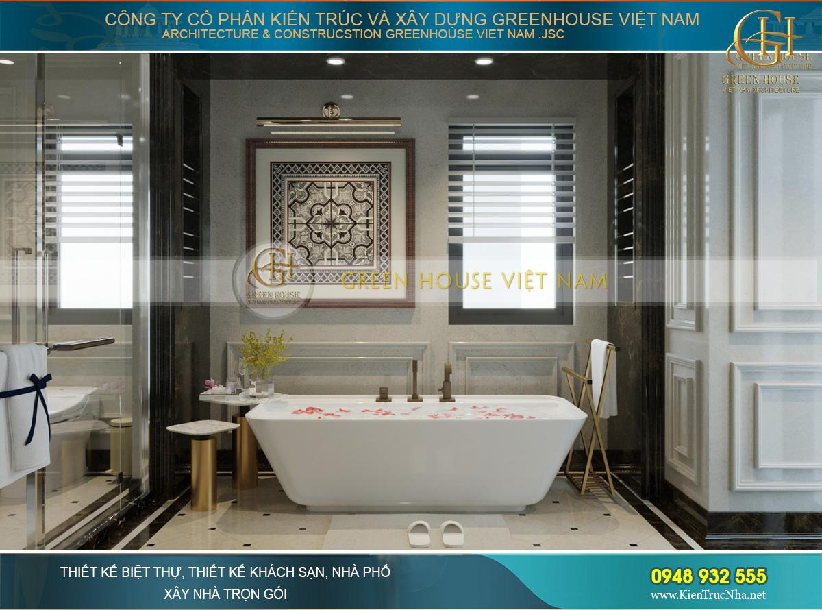 Phòng tắm của phòng ngủ chính với vẻ đẹp chuẩn luxury như khách sạn 5 sao