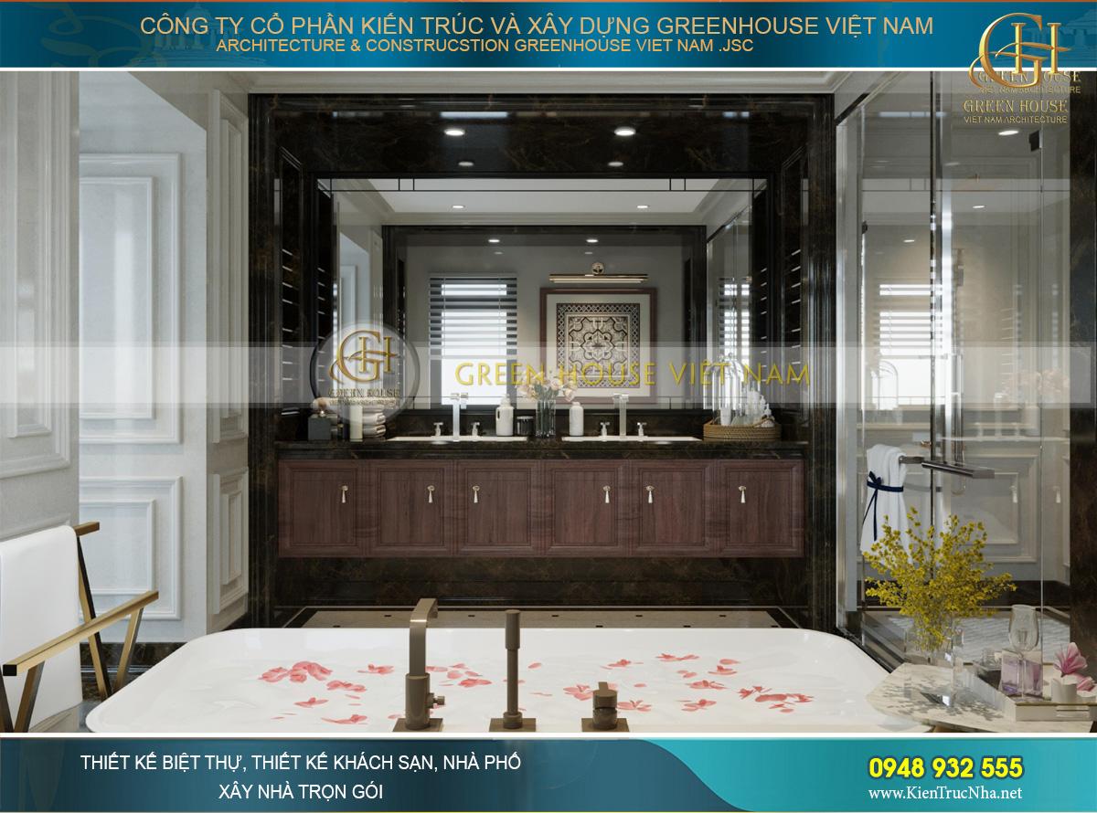 Phòng tắm được thiết kế với vẻ đẹp nghệ thuật không hề thua kém các không gian chính khác