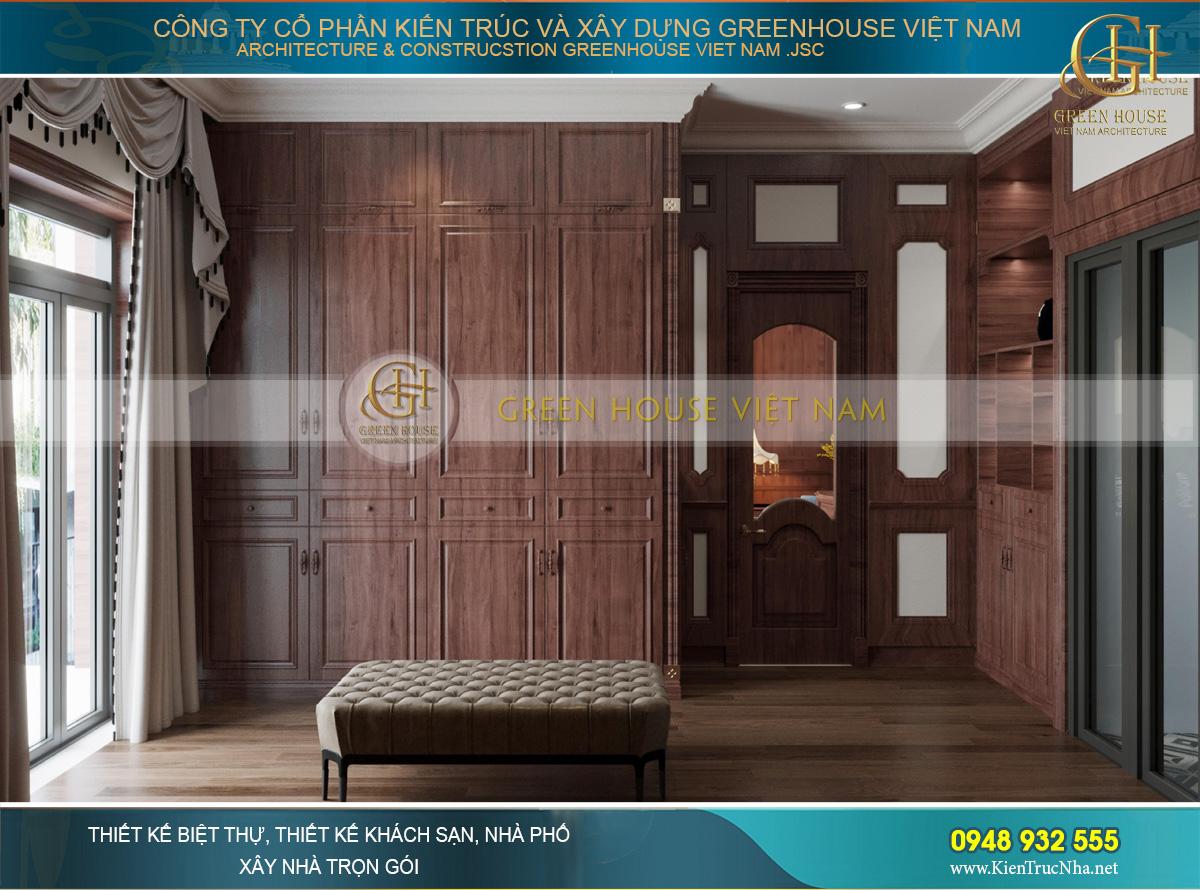 Phòng thay đồ sử dụng chất liệu gỗ tự nhiên với tone màu nâu đỏ đặc trưng, cao cấp và sang trọng