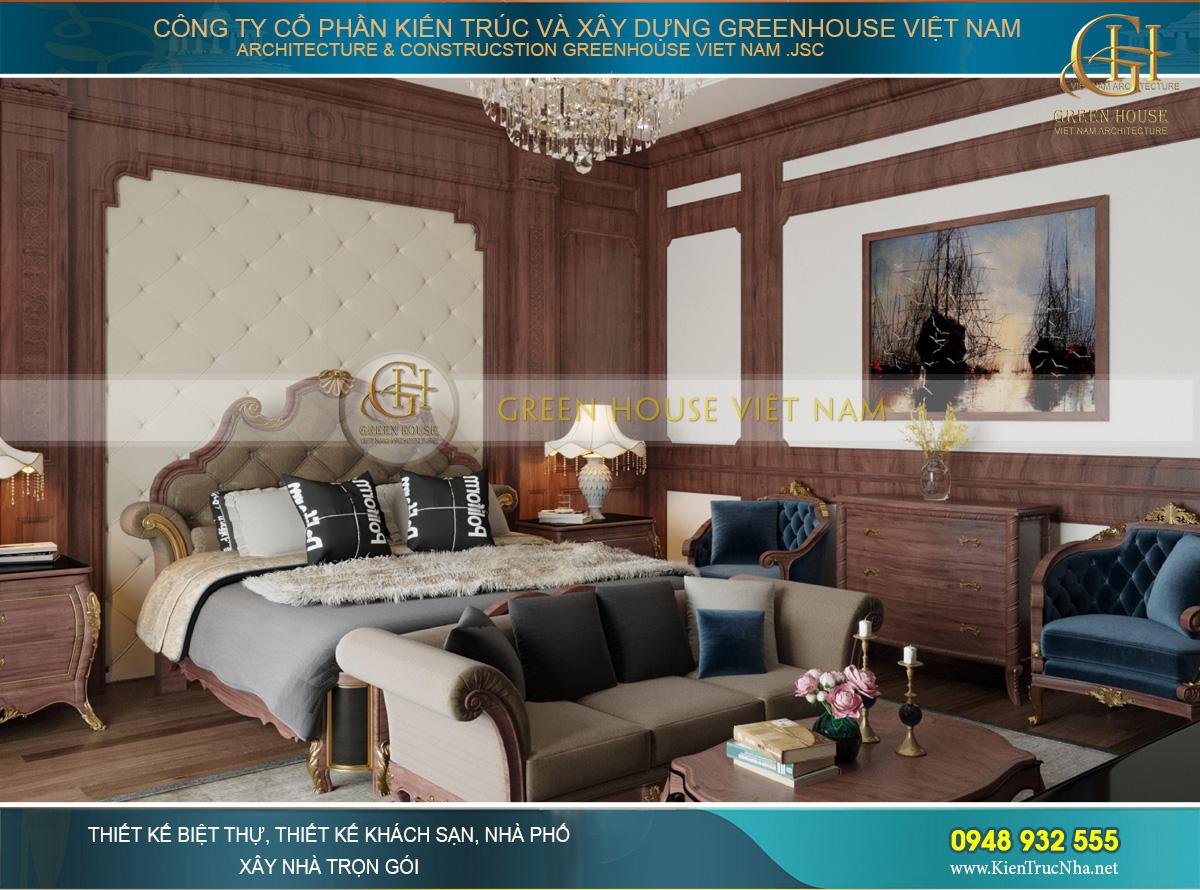 Phòng ngủ master giống như một tác phẩm nghệ thuật của màu sắc