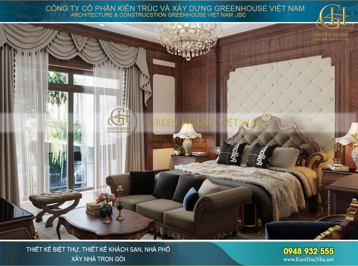 Thiết kế nội thất phòng ngủ Luxury sử dụng các gam màu đậm trên chất liệu nhung, nỉ và gỗ làm bật lên sự đẳng cấp, xa hoa nhất