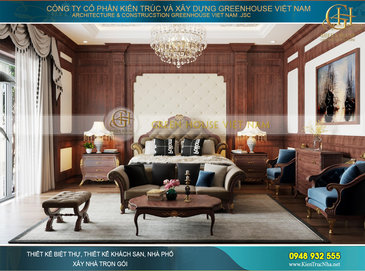 Phòng ngủ chính của biệt thự tân cổ điển với vẻ đẹp choáng ngợp, hoa lệ