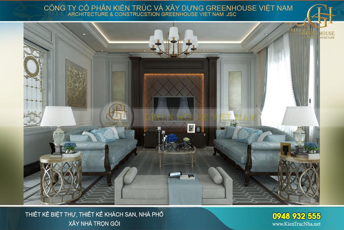 Tone màu xanh – nâu của phòng khách gợi cảm giác sang trọng, kiêu kỳ mà dịu dàng