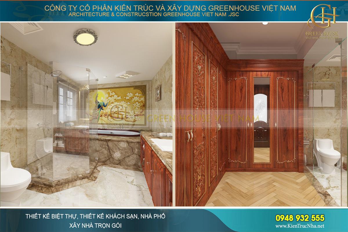 Không gian phòng tắm, phòng vệ sinh của phòng ngủ master