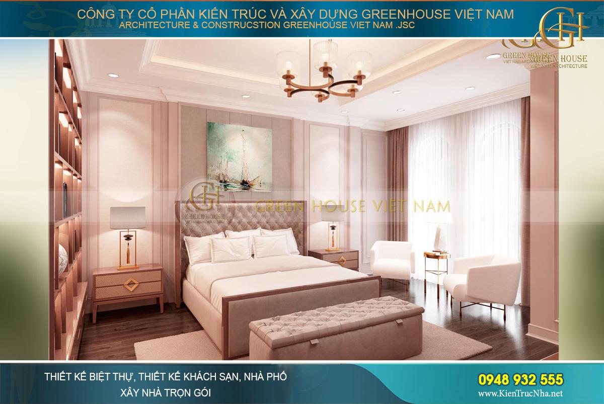 Phòng ngủ rộng rãi, thông thoáng bởi những thiết kế nội thất tinh tế, tối giản