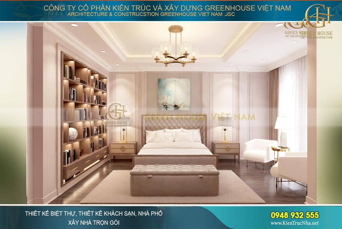 Mẫu thiết kế phòng ngủ master của biệt thự tân cổ điển tại Hải Phòng