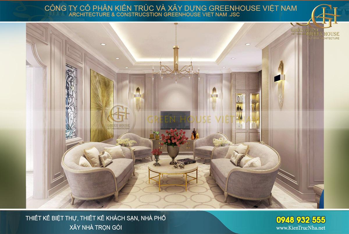 Tone màu trắng và tím phấn mang đến vẻ đẹp lãng mạn cho phòng khách