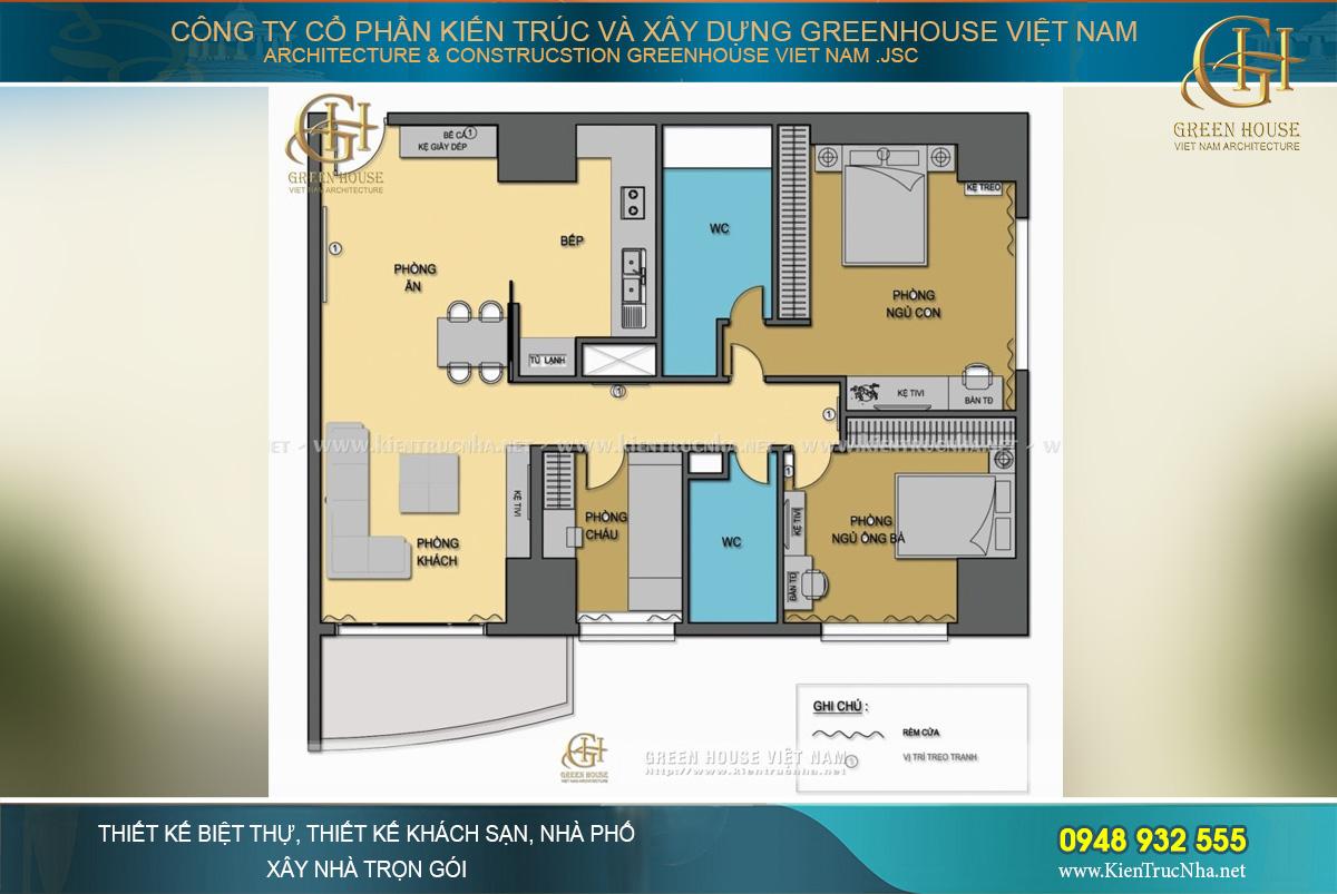 Bản thiết kế công năng của căn chung cư cao cấp tại Royal City