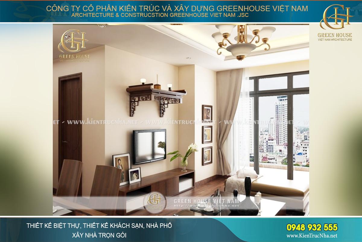 Thiết kế nội thất phòng khách đơn giản nhưng vẫn đầy đủ tiện nghi