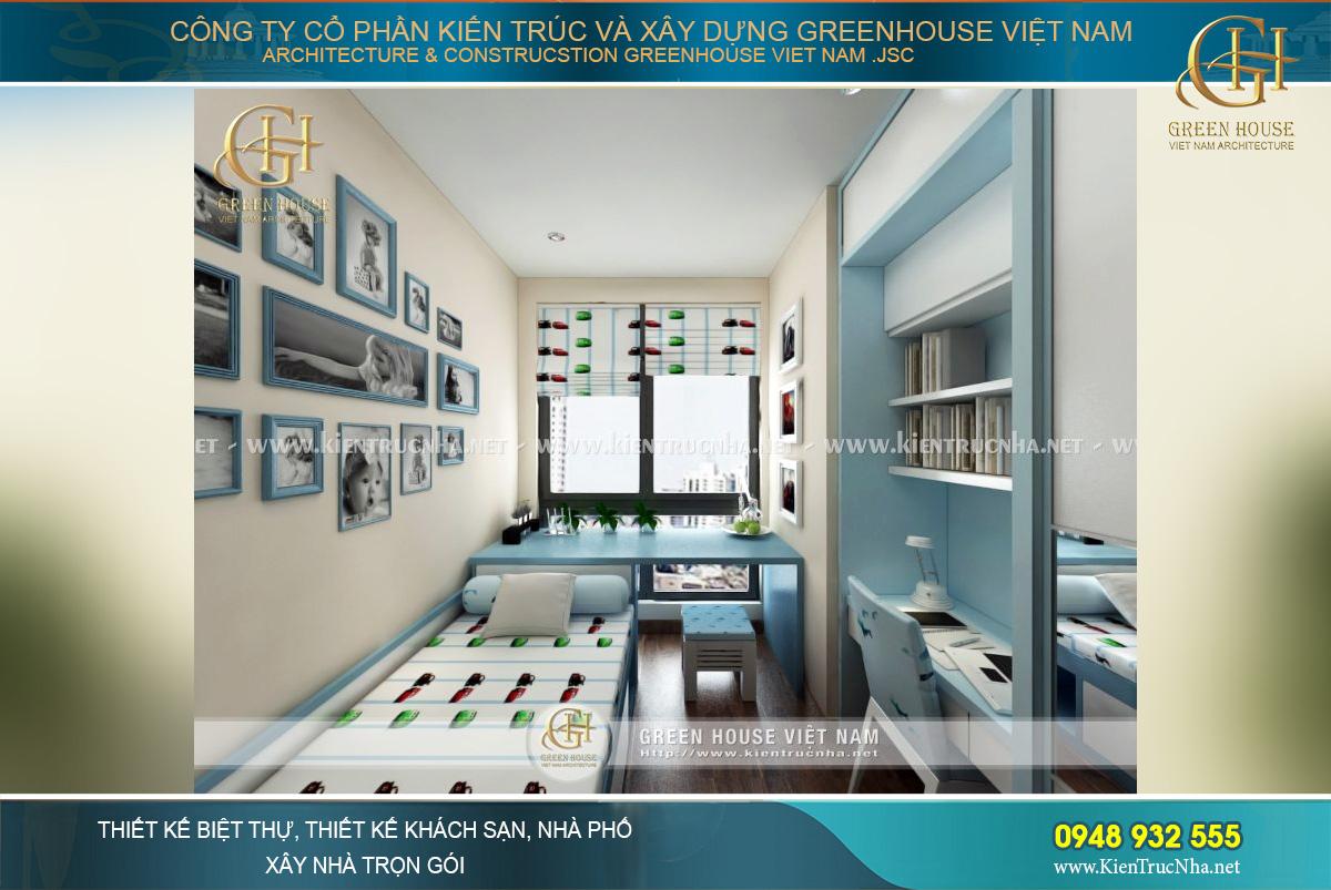Phòng ngủ của con trai với tông màu xanh chủ đạo thể hiện sự mạnh mẽ