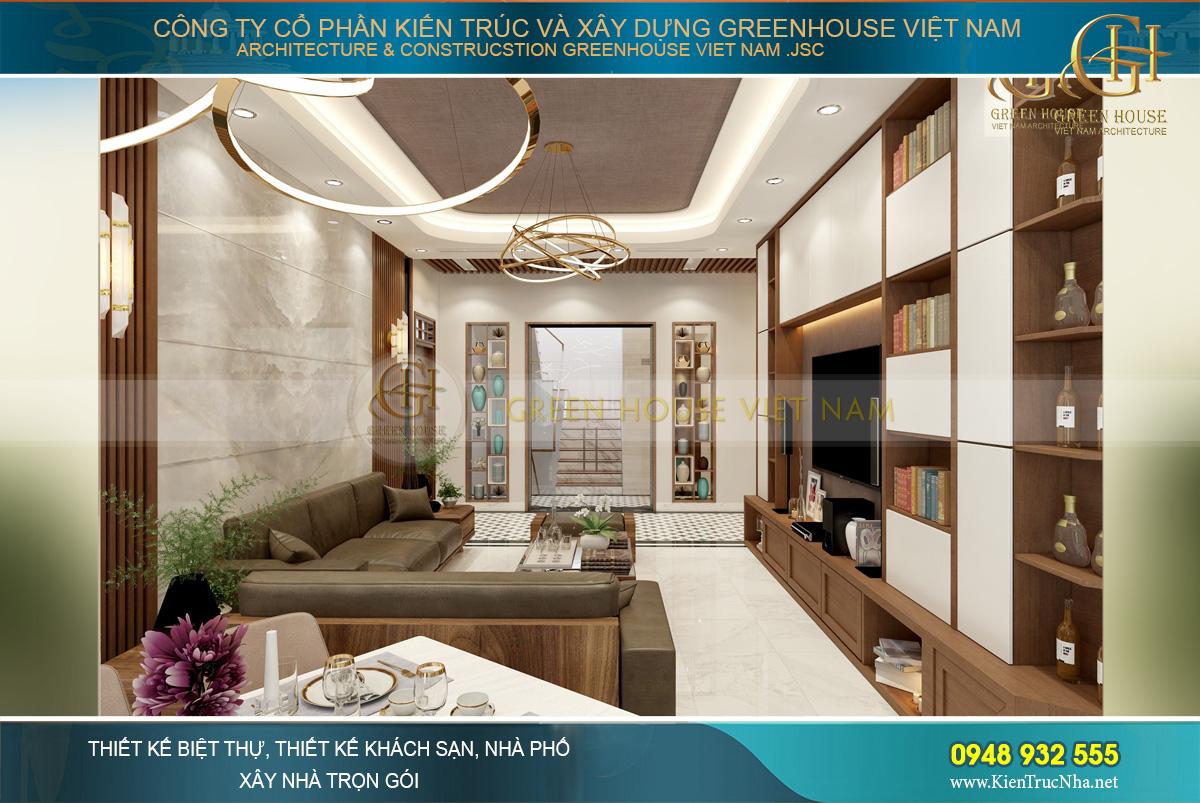 Nội thất phòng khách được bố trí phù hợp, tại không gian ấm cúng cho các thành viên
