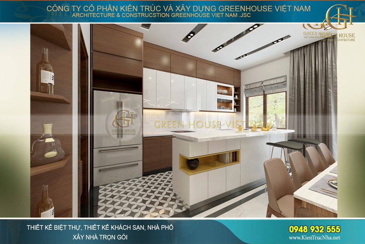 Thiết kế nội thất phòng bếp hiện đại, thanh lịch