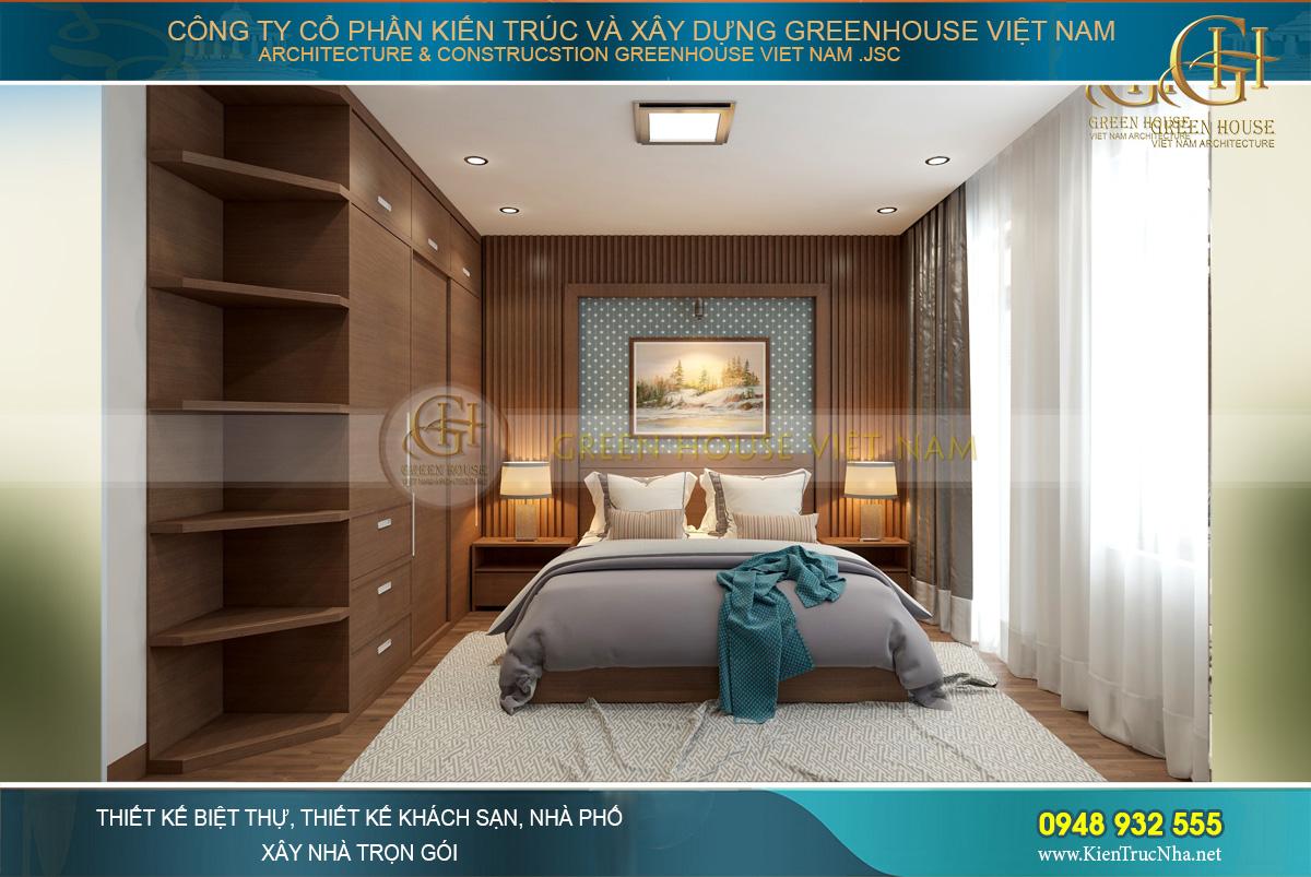 Không gian phòng ngủ master của căn hộ chung cư hiện đại tại Hà Nội