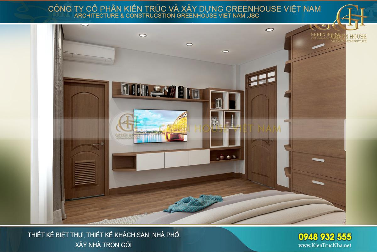 Phòng ngủ chính với màu sắc trầm ấm, dịu dàng