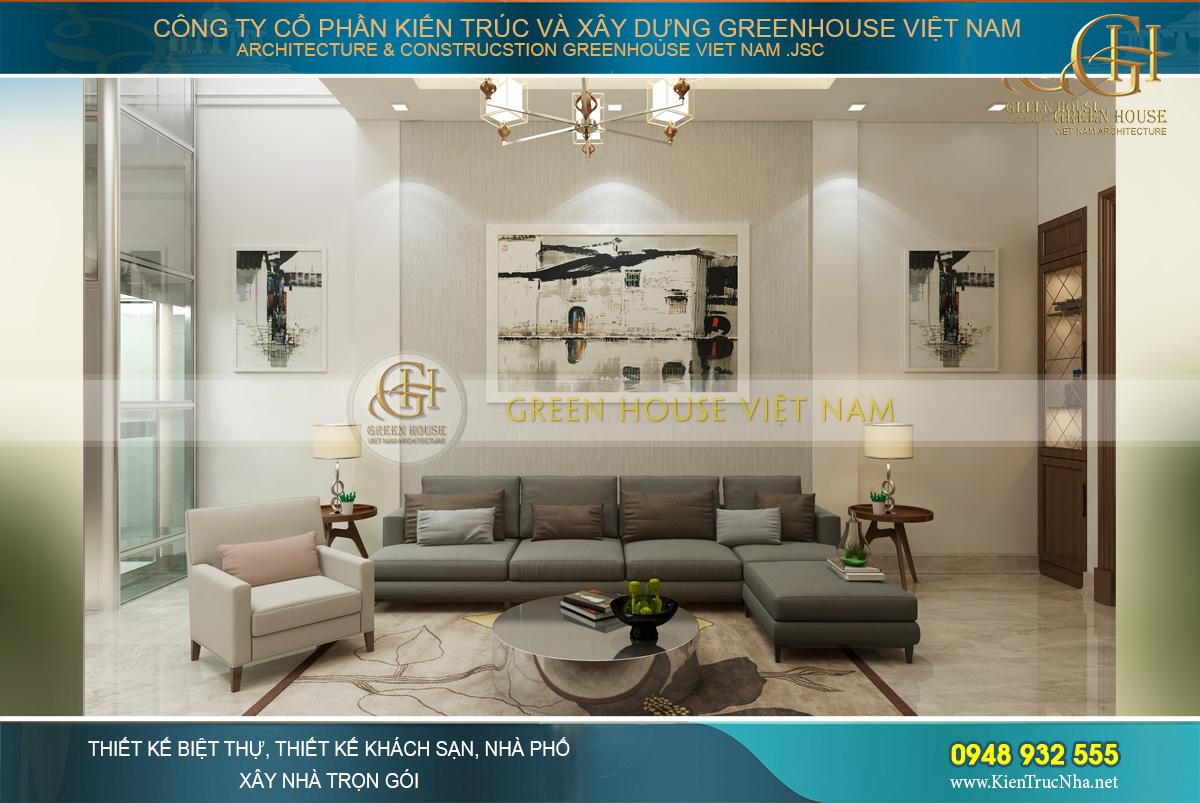Bộ sofa nệm bọc vải màu xám mang đến vẻ đẹp sang trọng, lịch lãm cho phòng khách