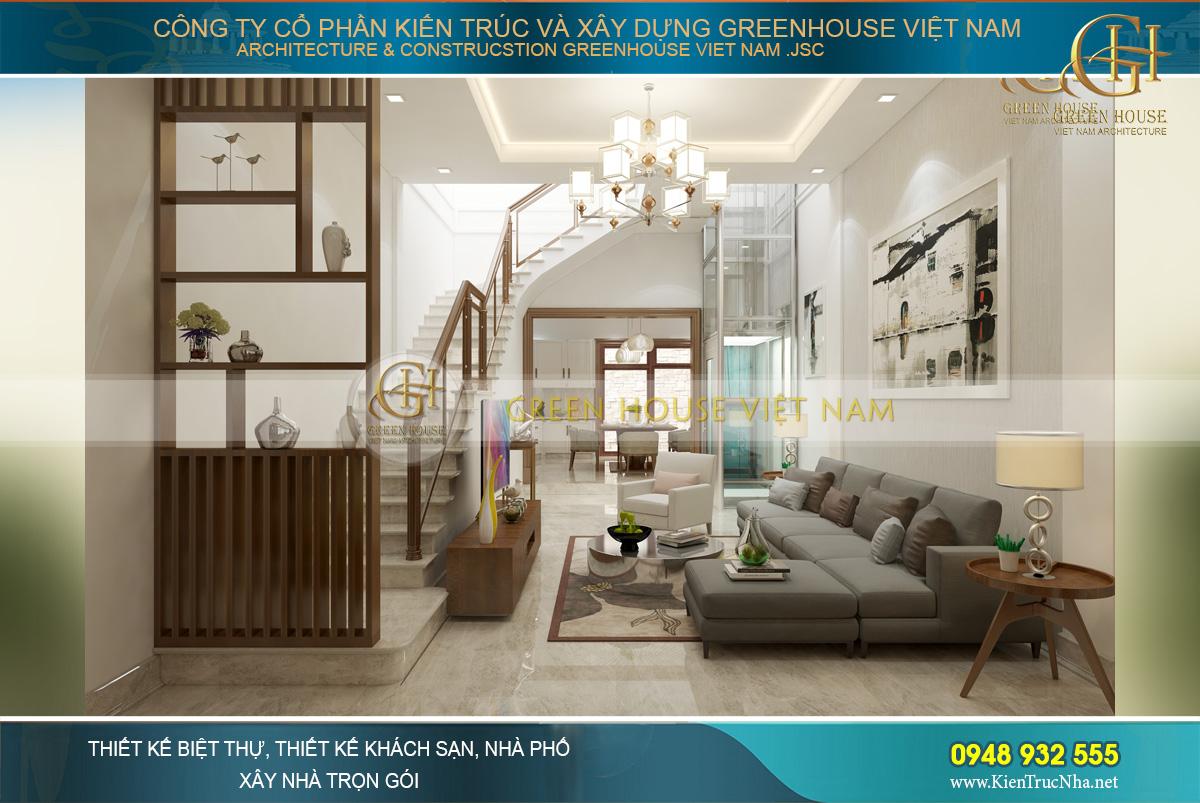 Không gian nội thất phòng khách phong cách hiện đại của nhà phố 3 tầng