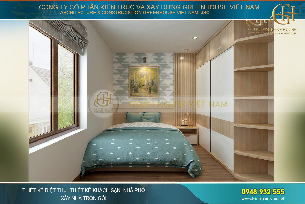 Thiết kế phòng ngủ với tông màu ấn tượng, nổi bật