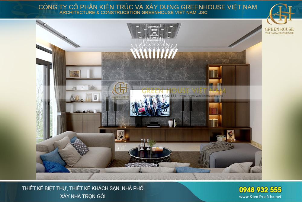 Không gian nội thất phòng tiếp khách rộng và tiện nghi của nhà phố 5 tầng