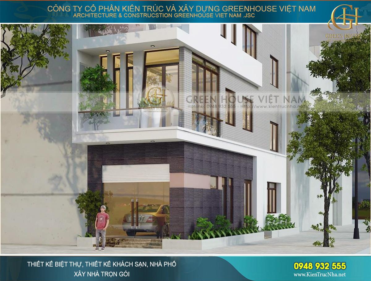 Tầng 1 của nhà phố được thiết kế với màu tạo điểm nhấn, không gian gara rộng rãi tiện lợi