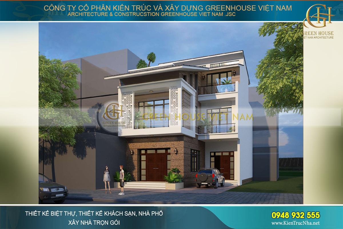 Phối cảnh ngoại thất của nhà phố hiện đại 3 tầng mặt tiền 10m tại Bắc Ninh