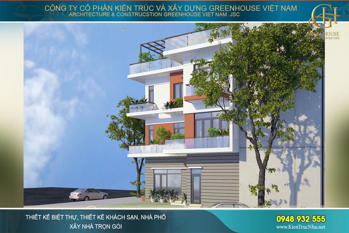 Kiến trúc thò thụt được xử lý rất khéo, tạo được giá trị thẩm mỹ cao cho công trình