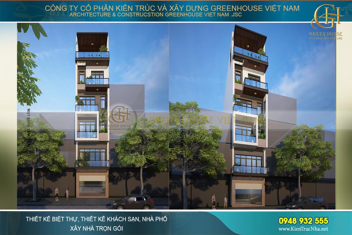 Phối cảnh mặt tiền của nhà phố hiện đại 6 tầng tại Bắc Giang