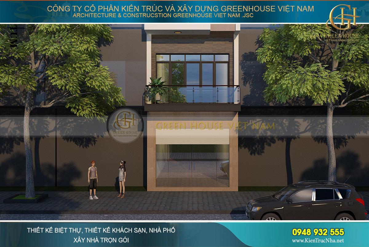 Thiết kế tầng 1 làm không gian kinh doanh với hệ thống cửa kính lớn, sang trọng