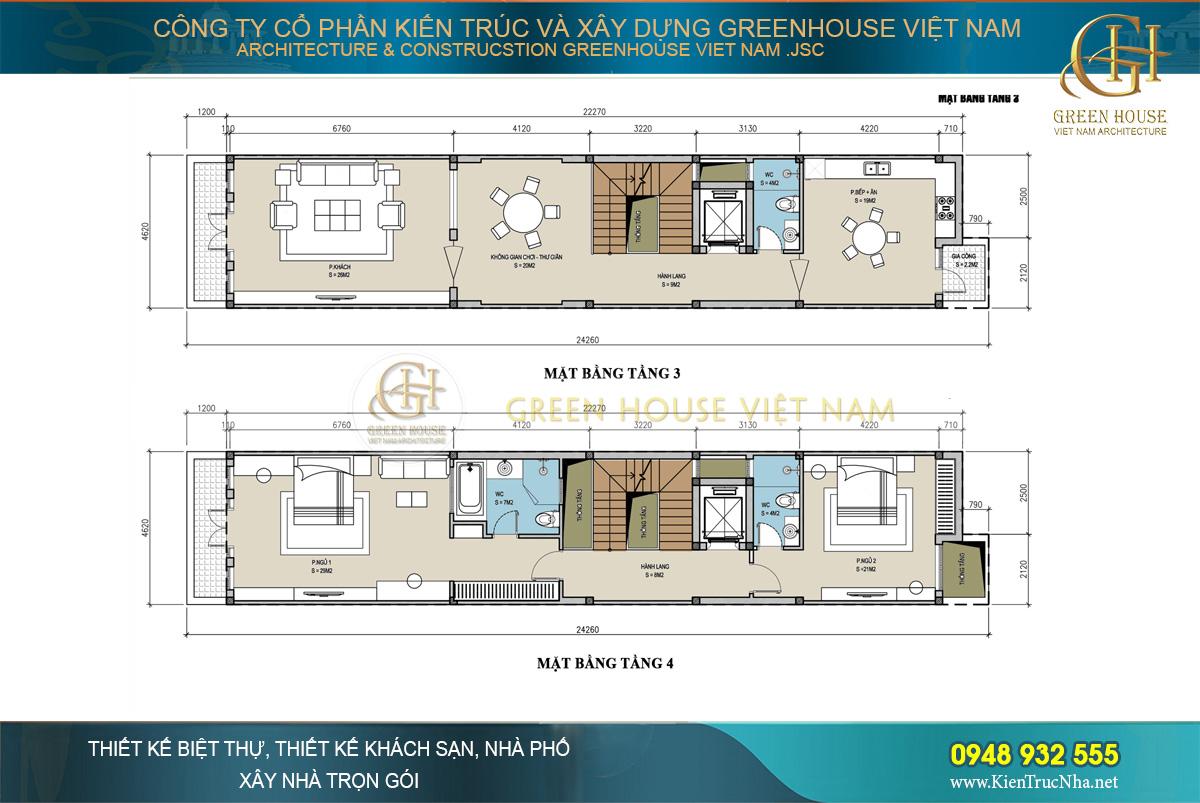 Tầng 3 là khu vực sinh hoạt chung của gia đình còn tầng 4 được bố trí 2 phòng ngủ