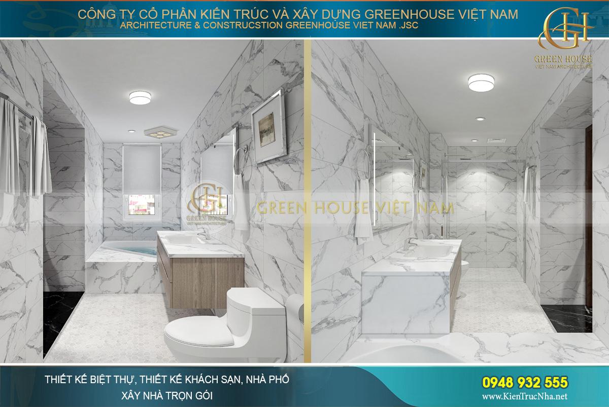 Đá tự nhiên mang đến vẻ đẹp sang trọng cho phòng tắm