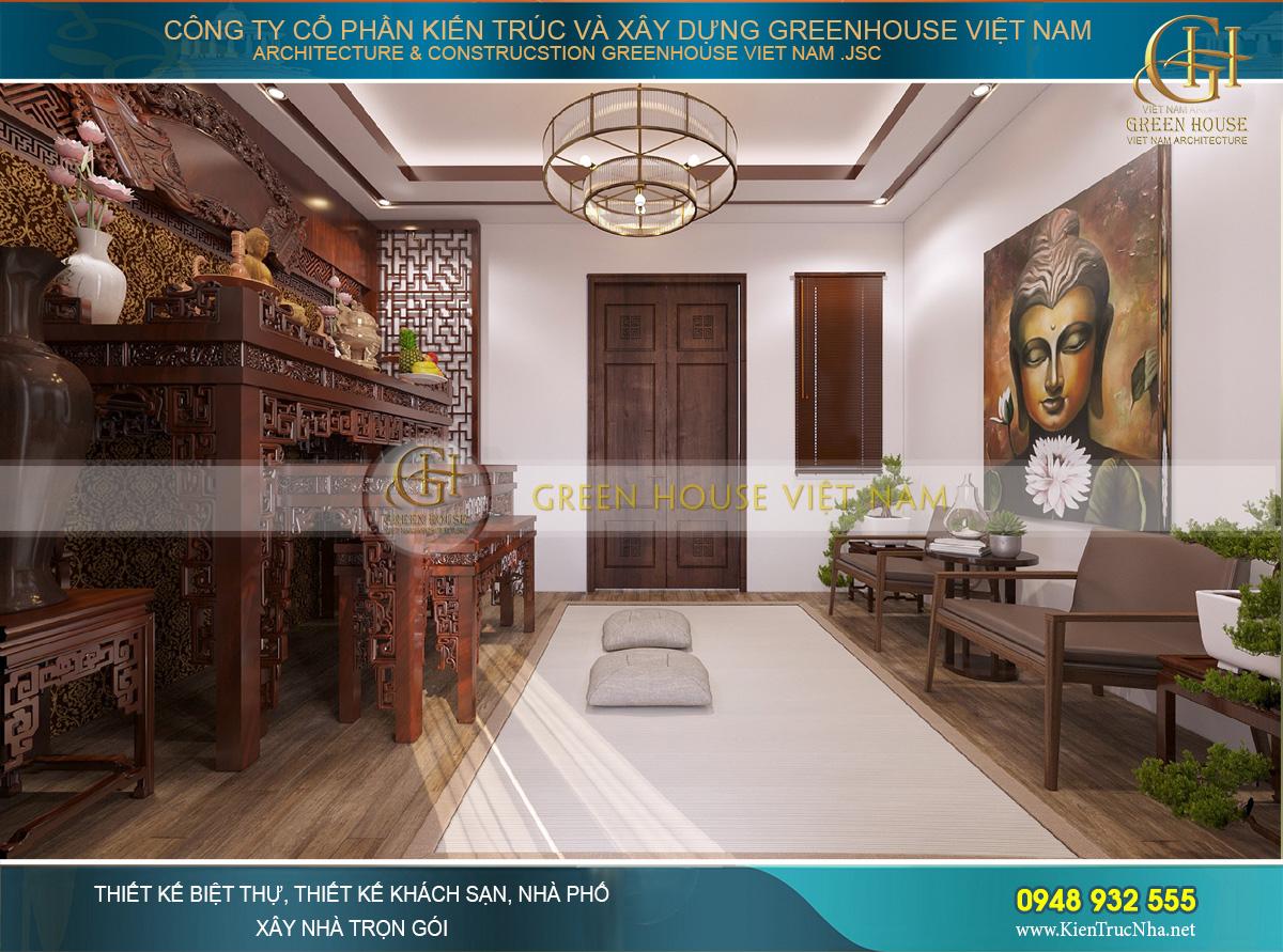 Thiết kế nội thất phòng thờ với chất liệu gỗ bề thế, vững chãi