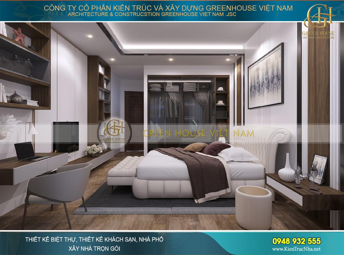 Phòng ngủ sử dụng chất liệu gỗ và vải tạo sự ấm áp, an toàn hơn