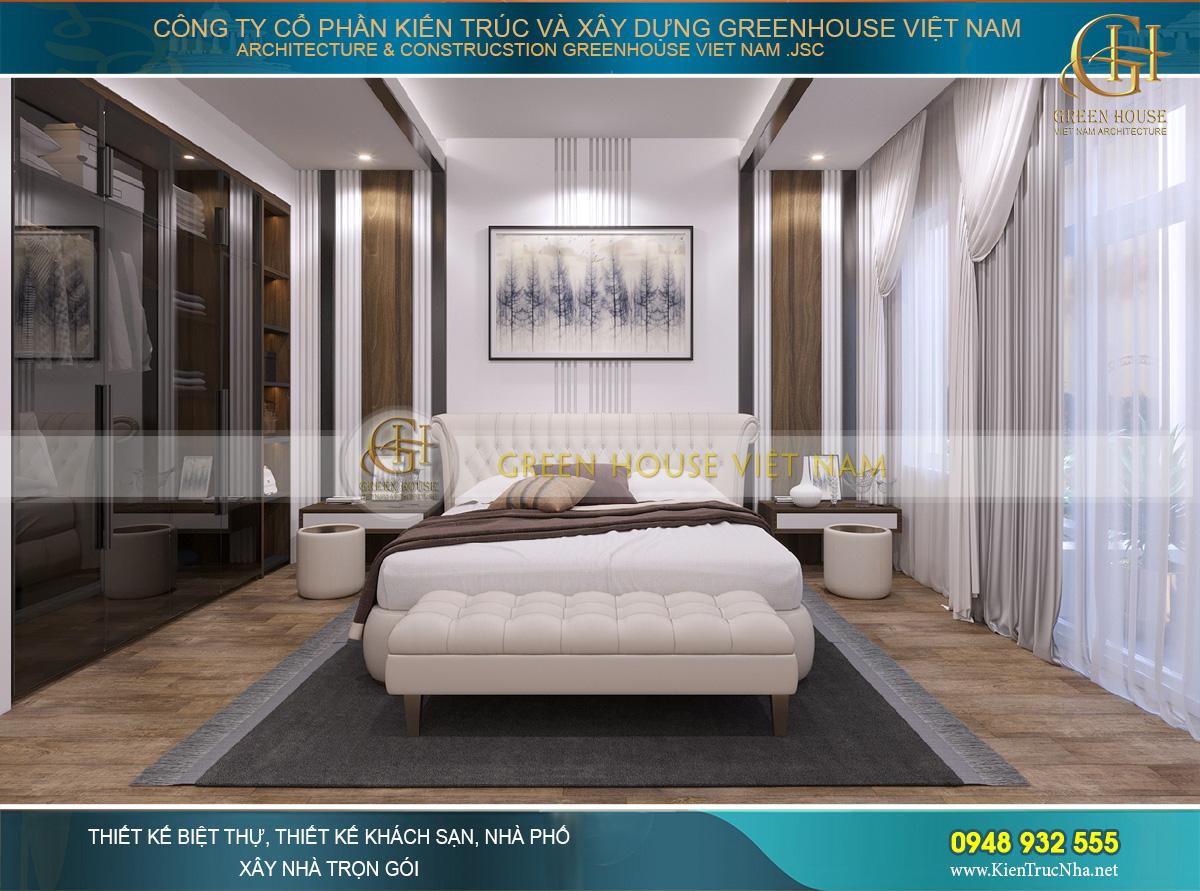 Thiết kế nội thất phòng ngủ hiện đại, sang trọng và tinh tế của vợ chồng gia chủ