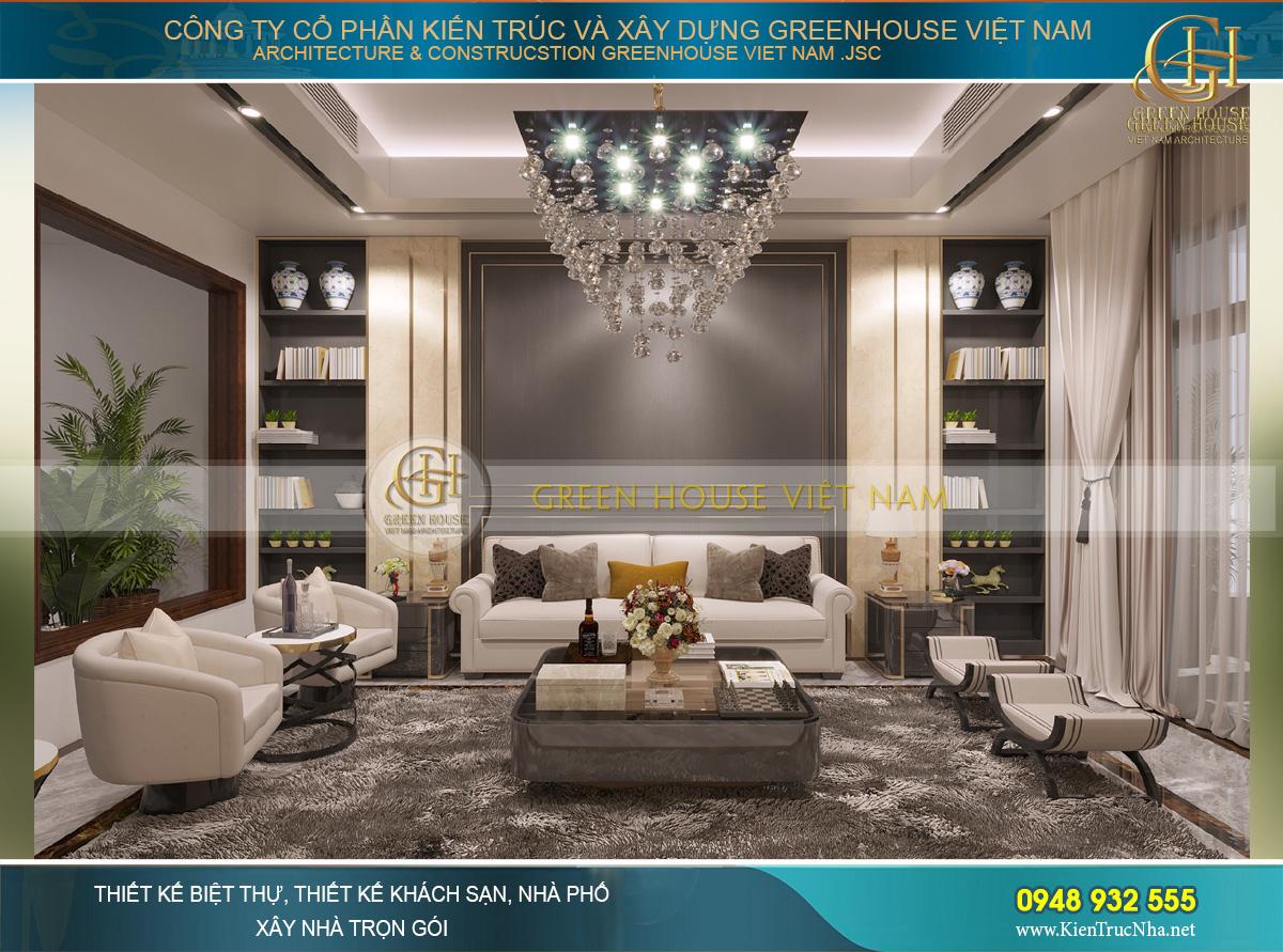 Thiết kế nội thất phòng khách hiện đại đẳng cấp của nhà phố 4 tầng