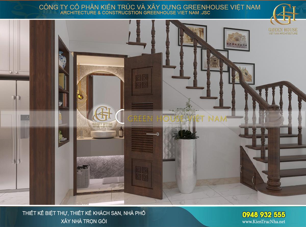 Khoảng trống dưới cầu thang được bố trí một phòng vệ sinh nhỏ, thiết kế sang trọng và hiện đại