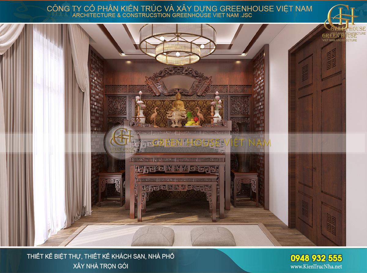 Dù với bất cứ phong cách thiết kế nào, phòng thờ vẫn luôn mang giá trị truyền thống Việt Nam