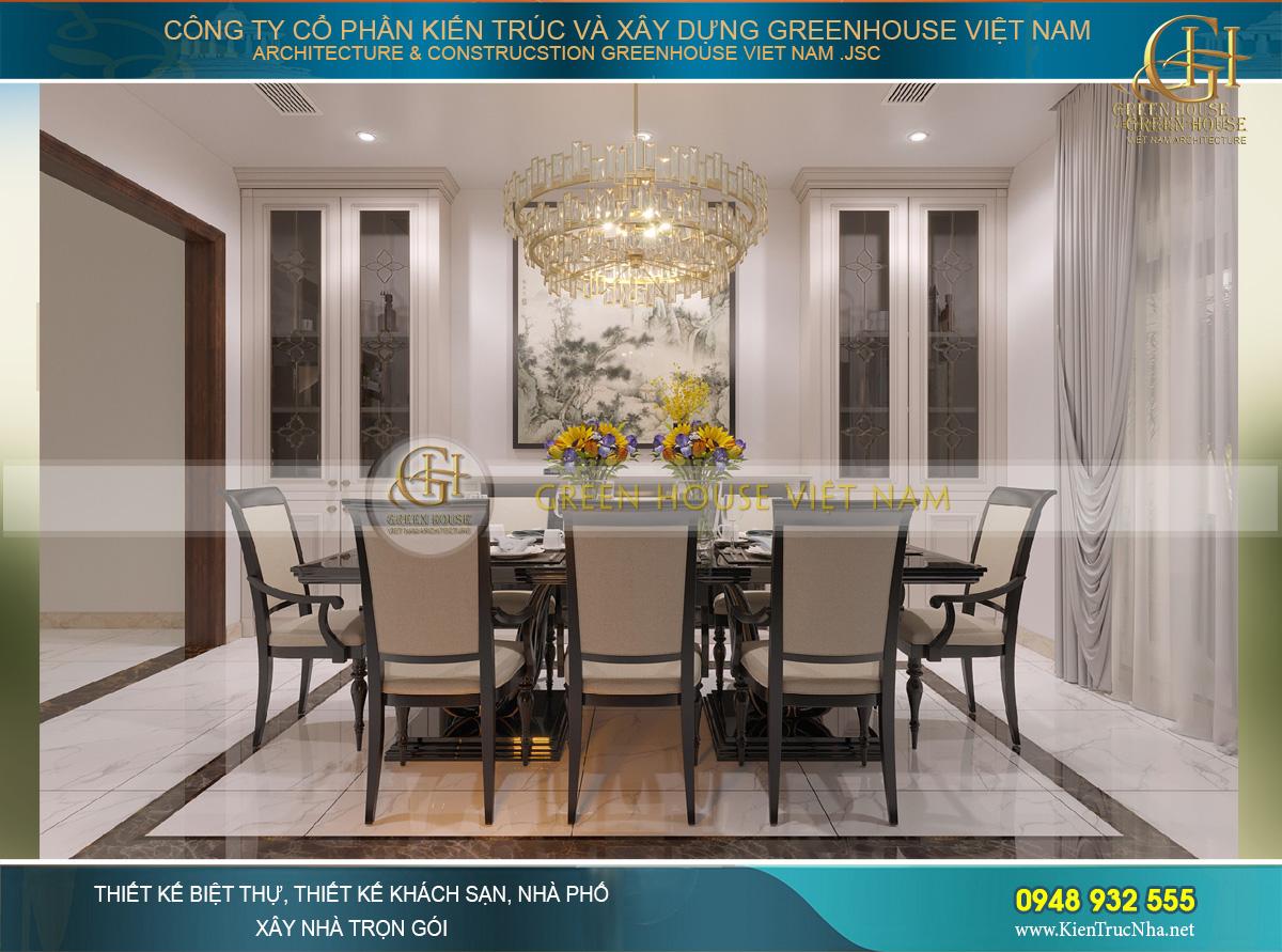 Thiết kế phòng ăn đơn giản với bộ bàn ăn mang hơi hướng tân cổ điển sang trọng