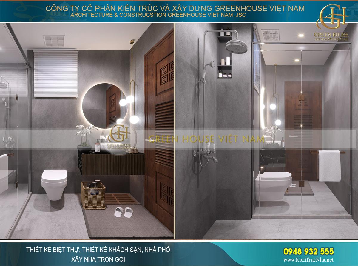 Thiết kế phòng vệ sinh của phòng ngủ số 2 trên tầng 3