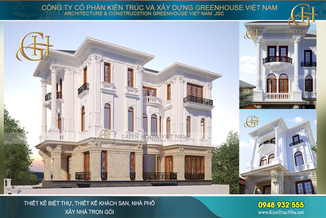 Mẫu thiết kế biệt thự 3 tầng tân cổ điển đẹp hoàn mỹ tại Bắc Giang